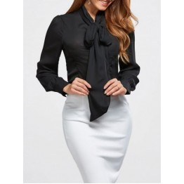 Pussy Bow Tie Neck Blouse - Black - Xl