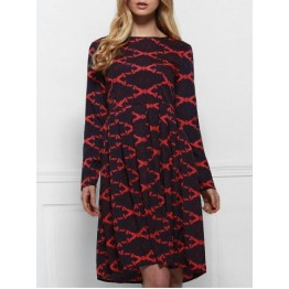 Round Neck Printed Long Sleeve A Line Dress - Deep Red - M