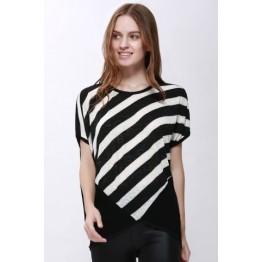 Scoop Neck Sloping Stripe Print Batwing Sleeve Women's Summer Blouse - Black - Xl