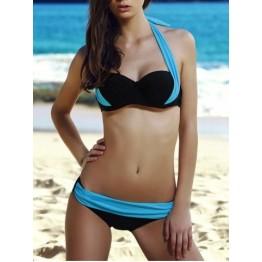 Sexy Halter Color Block High-Waisted Bikini Set For Women - Lake Blue - S