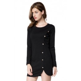 Short Button Long Sleeves Sheath Dress - Black - M