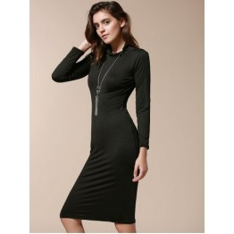 Simple Turtle Neck Long Sleeve Solid Color Slimming Women's Dress - Black - L