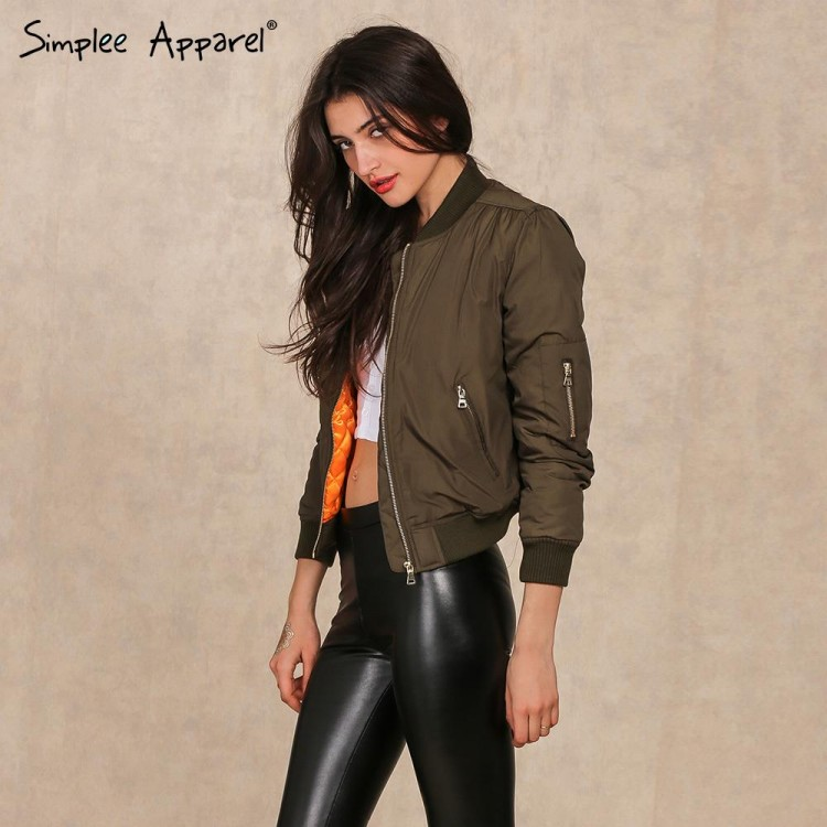 Simplee Apparel Winter parkas cool basic bomber jacket Women Army ...