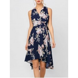 Sleeveless High Low Floral Print Swing Wrap Dress - Deep Blue - L