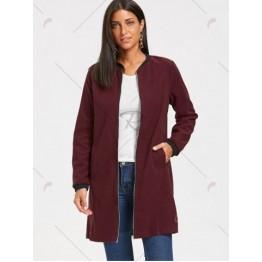 Slim Fit Zip Up Long Coat - Wine Red - Xl