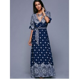 Slit Print Long Flowing Wrap Plunge Dress - Purplish Blue - One Size(fit Size Xs To M)