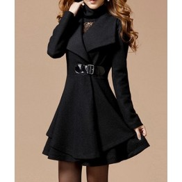 Solid Color Noble Style Worsted Turn-Down Collar Long Sleeves Women's Coat - Black - Xl