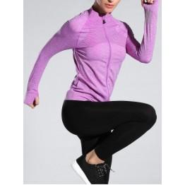 Space-Dyed Zip Slim Sporty Running Jacket - Light Purple - M