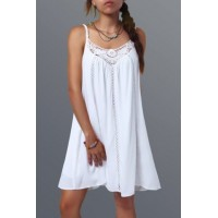 Spaghetti Strap Lace Splicing Sleeveless Shift Babydoll Dress - White - Xl