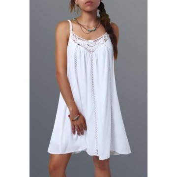 Spaghetti Strap Lace Splicing Sleeveless Shift Babydoll Dress - White - Xl469128