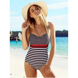 Spaghetti Strap Polka Dot Striped One Piece Swimwear - L