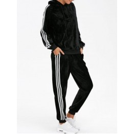 Sporty Velvet Hoodie and Running Jogger Sweatpants - Black - S