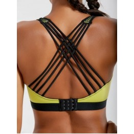 Strappy Padded Criss Cross Sports Bra - Lemon Yellow - M
