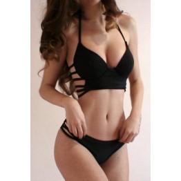 Strappy Push Up Halter Top Bikini - Black - M