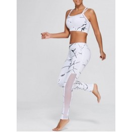 Straps Bra and Workout Mesh Panel Leggings - White - M