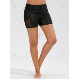 Stretch High Waist Sports Mini Leggings - Black - L