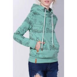 Stylish Hooded Long Sleeve Deer Print Women's Hoodie - Green - L