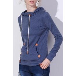 Stylish Hooded Long Sleeve Draped Spliced Women's Hoodie - Blue - M