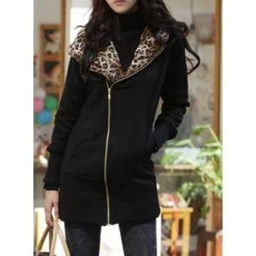 Stylish Long Sleeve Leopard Zippered Women's Hoodie - Black - L