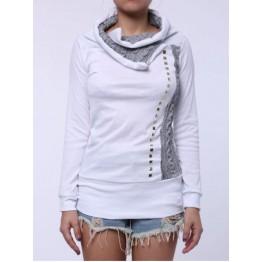 Stylish Turn-Down Collar Rivet Embellished Long Sleeve T-Shirt For Women - White - L