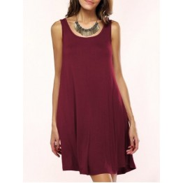 Tank A Line Casual Everyday Dress - Wine Red - Xl