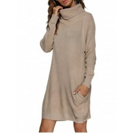 Turtleneck Shift Long Sleeve Sweater Dress - Apricot - M