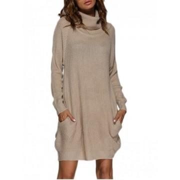 Turtleneck Shift Long Sleeve Sweater Dress - Apricot - M825479