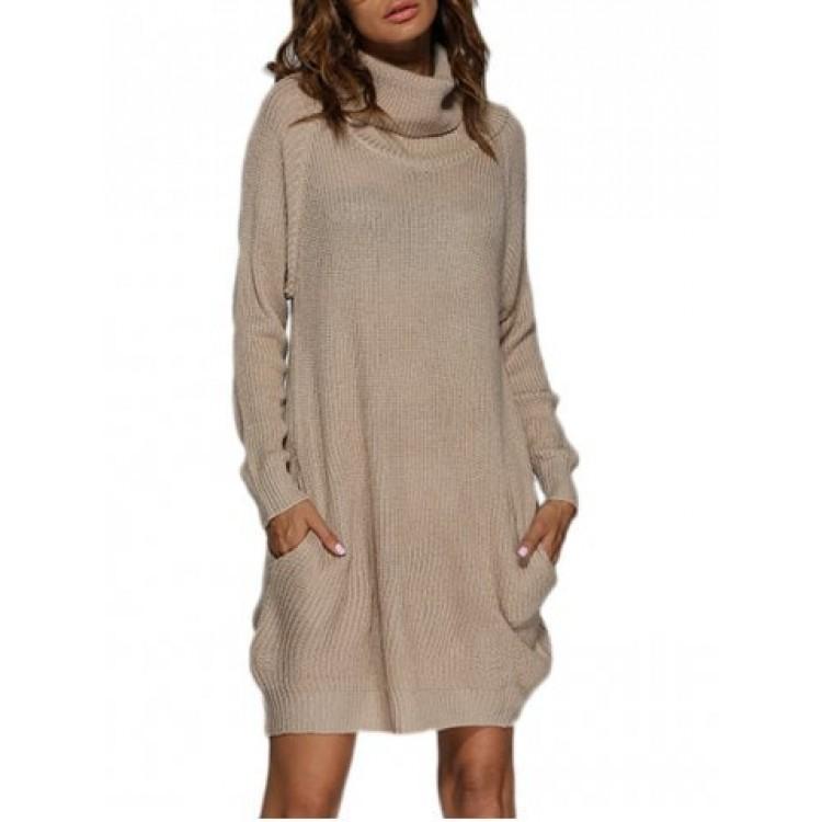 Long sleeve sweater dress turtleneck