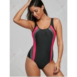 U Neck Color Block Backless Swimsuit - Black - Xl