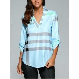 V Neck Color Block Tunic Blouse - Light Blue - Xl