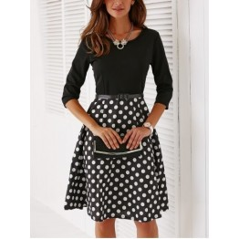 Vintage Belted Knee Length Polka Dot Dress - Black - M