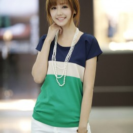 Women Shirts Fashion T-Shirts Ladies Shirts Red Green Stripe Color Lady Short Sleeve Plus Loose Size Tops T Shirts