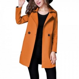 Women's  Lapel Collar Trench Coat Long Sleeve Solid Color - Camel - S
