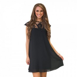 Women's Lace Stitching Short-Sleeved Round Neck Casual Dress - Black - Xl