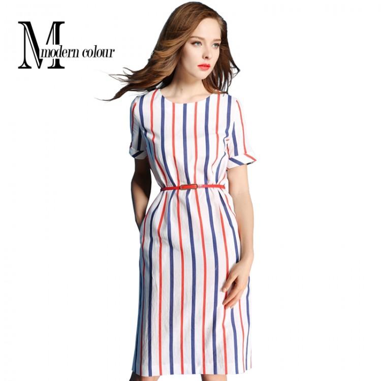Womens Summer Dresses 2016 Summer Plus Size Casual Women Cotton Line Dress  New Fashion Striped Short Sleeve Women Straight Dress