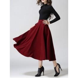 Woolen A-Line Midi Skirt - Wine Red - M
