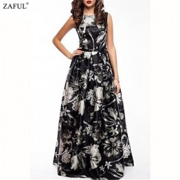 ZAFUL 2016 New Women Long Summer Dress Retro Floral Print Vintage Dress Sleeveless Floor-Length Female Party Maxi Dress Vestidos