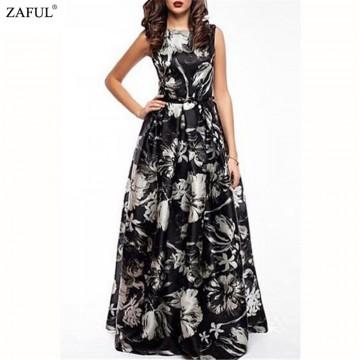 ZAFUL 2016 New Women Long Summer Dress Retro Floral Print Vintage Dress Sleeveless Floor-Length Female Party Maxi Dress Vestidos