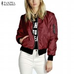 ZANZEA 2016 Spring Autumn Women Thin Jacket Tops Celeb Bomber Long Sleeve Coat Casual Stand Collar Slim Fit Outerwear Plus Size