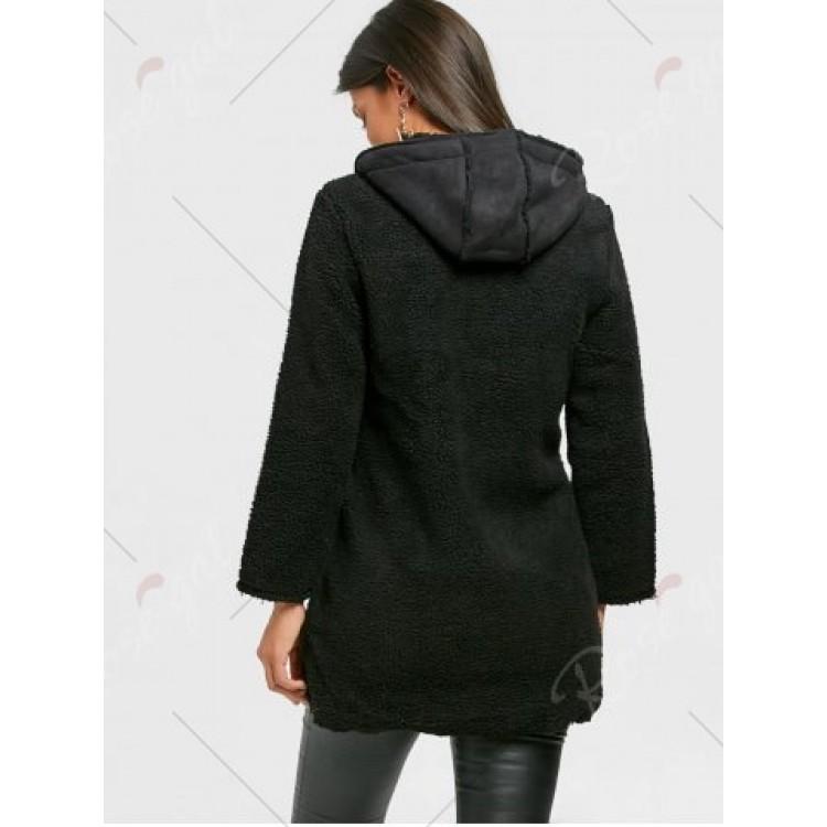Zip Fly Graphic Hooded Fleece Coat - Black - 2xl