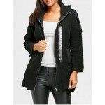 Zip Fly Graphic Hooded Fleece Coat - Black - 2xl