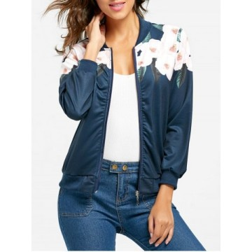 Zip Up Flower Print Jacket - Blue - S1343508