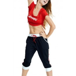 Active U-Neck Letter Print Short Sleeve Crop Top and Pants Twinset For Women