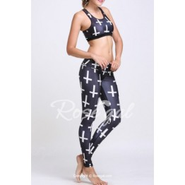 Active U Neck Cross Print Top and Slimming Leggings Suit For Women
