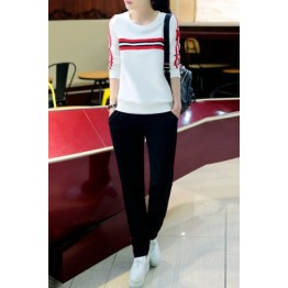Casual Style Round Collar Long Sleeve Letter M Pattern Sweatshirt + Striped Pants Twinset For Women