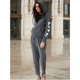 Chic Hooded Long Sleeve Letter Print Hoodie + Pants Women's Twinset