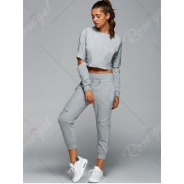 Long Sleeve Cropped T-Shirt and Side Zippers Design Harem Pants Outfits