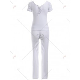 Pure Color Criss Back Short Sleeve Top and Loose Pants Sport Suit
