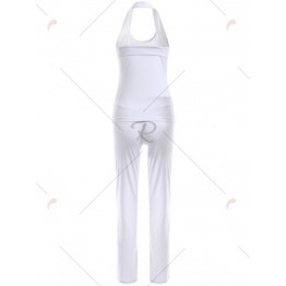 Pure Color Criss Back Top and Loose Pants Sport Suit