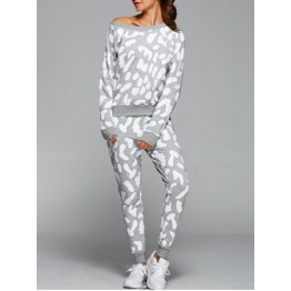 Spot Print Sweatshirt With Pants